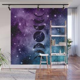 Purple Teal Galaxy Nebula Dream Moon Phases #1a #decor #art #society6 Wall Mural
