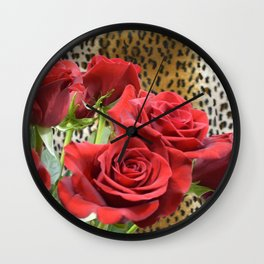 Leopard Roses // Wild Roses, Red Flowers Wall Clock