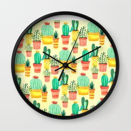 Hello! Colorful Watercolor Cactus and Succulent in Patterned Planters Wall Clock