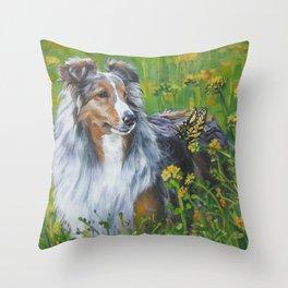 SHELTIE Shetland Sheepdog dog art from an original painting by L.A.Shepard Throw Pillow
