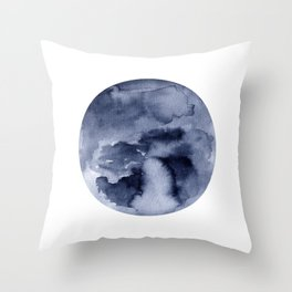 Blue Geometric Circle in Watercolor Throw Pillow