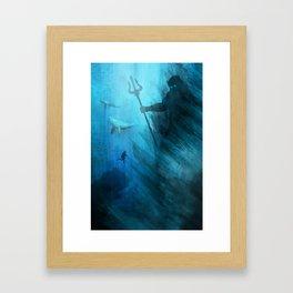 Scuba Diver meets Poseidon  Framed Art Print