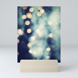Bokeh Lights Sparkle Photography, Navy Gold Sparkly Abstract Photograph Mini Art Print