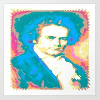 beethoven Art Prints featuring Beethoven by Katherine Barnett