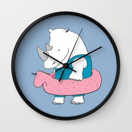 White beach rhino Wall Clock
