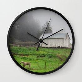 White Barn On A Foggy Morning Wall Clock