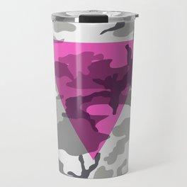 Pink Triangle on Urban Camouflage Travel Mug
