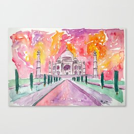 Taj Mahal - Colorful Crown of the Palace and Love Canvas Print