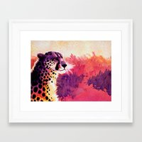 cheetah Framed Art Prints featuring Cheetah by Fallen Apple Designs