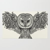 tatoo Area & Throw Rugs featuring Barn Owl by Huebucket