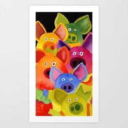 colorful pigs Art Print