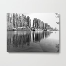 Barges on the River Oise Metal Print