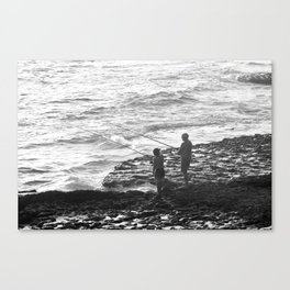 Golden Hour Grandfather and Grandson Fishing Canvas Print