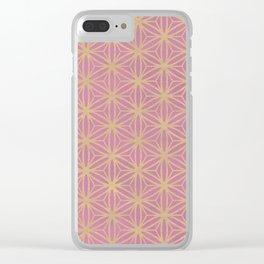 Pink Geometric Pattern Clear iPhone Case