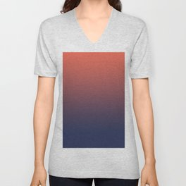 Pantone Living Coral & Blue Depth Gradient Ombre Blend, Soft Horizontal Line Unisex V-Neck