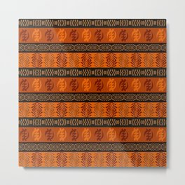 Ethnic african tribal pattern with Adinkra simbols. Metal Print