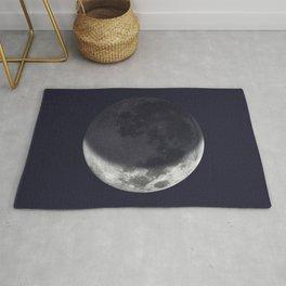 Waxing Crescent Moon on Navy Rug