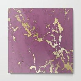 Plum Gold Marble Metal Print