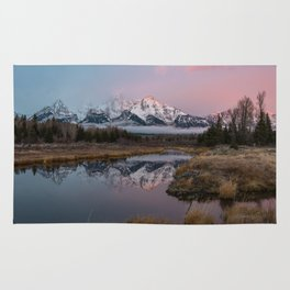 Snowy Pink Sunrise in the Tetons Rug