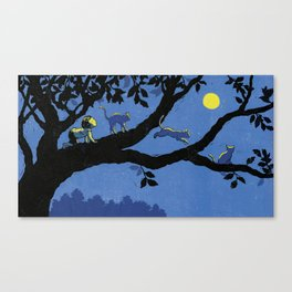 cats and the moon Canvas Print