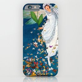 Bride in Paris with Calla Lilies and Butterflies portrait painting by George Wolfe Plank iPhone Case
