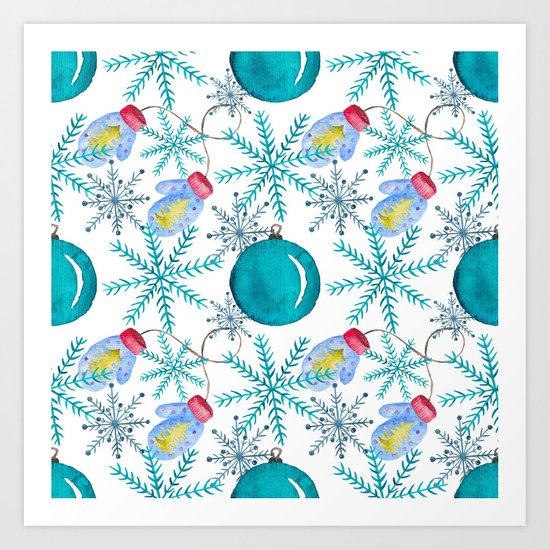 Blue Snowflakes #3 Art Print