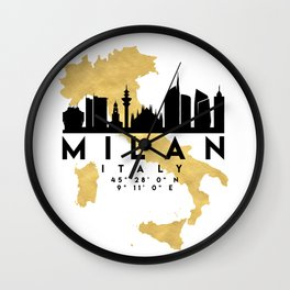 MILAN ITALY SILHOUETTE SKYLINE MAP ART Wall Clock