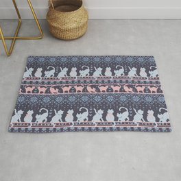 Fair Isle Knitting Cats Love // purple white and pink kitties Rug