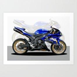Yamaha R1 blue Art Print
