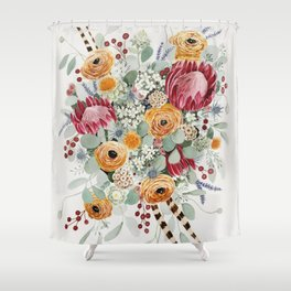 Fall Protea Bouquet Shower Curtain