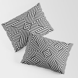 Black white pattern with lines and squares Pillow Sham