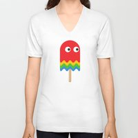 pacman V-neck T-shirts featuring Pacman ghost by Tony Vazquez