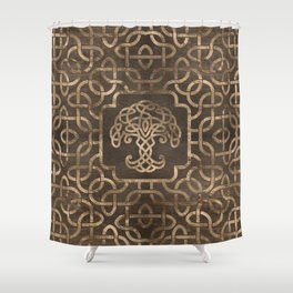 Tree of life -Yggdrasil on Celtic Pattern Shower Curtain