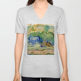 """Franz Marc """"Horses at Pasture (also known as Horses in a Landscape)"""" Unisex V-Neck"""