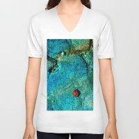 ladybug V-neck T-shirts featuring LadyBug by Sandy Broenimann