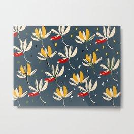 Vanilla flowers on a blue background Metal Print