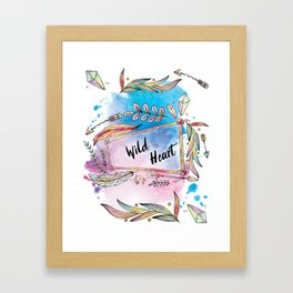 Wild Heart Boho Tribal Frame with Arrows and Crystals Framed Art Print