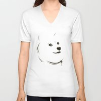 doge V-neck T-shirts featuring Doge by Creadoorm