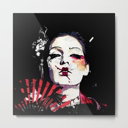 Japanese Creepy Geisha Metal Print