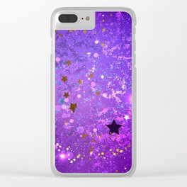 Purple Background with Stars Clear iPhone Case
