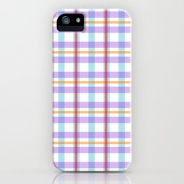 Gridlines of purple, blue and red on white iPhone Case