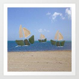 I Saw Three Ships On Christmas Day #Christmas Art Print