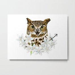 Sagittarius Owl Metal Print