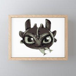 Chibi black dragon Framed Mini Art Print