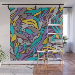 Animal Print - Turquoise And Gold Wall Mural