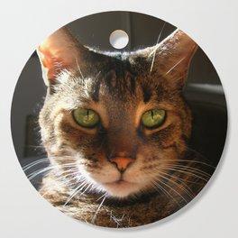 Marley the Mackerel Tabby Cat with Intense Green Eyes Cutting Board