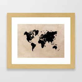 world map 94 black #worldmap #map #world Framed Art Print