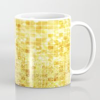 gold glitter Mugs featuring Disco Gold - Glitter by Paula Belle Flores
