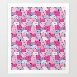 Cats pattern in Pastels , cute kitty cats in pink and purple Art Print