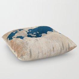 Rustic World Map Floor Pillow